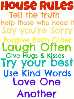 House rules free printable; tell the truth; laugh often; give hugs; love one another