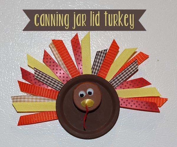 Canning Jar Lid Turkey Craft | All About Family Crafts #thanksgiving #craft