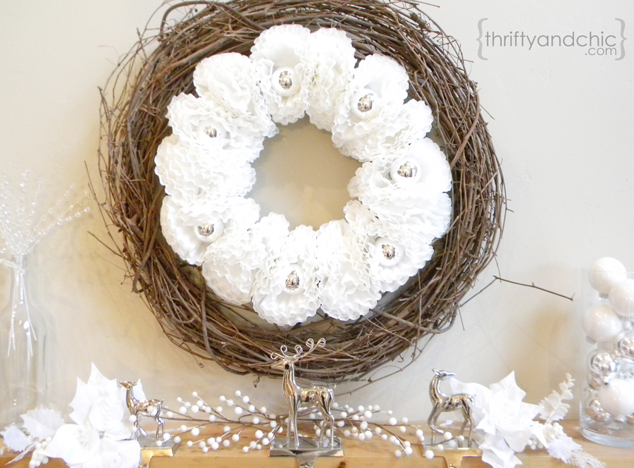 Coffee Filter Ornament Wreath | Thrifty and Chic #christmas #wreath