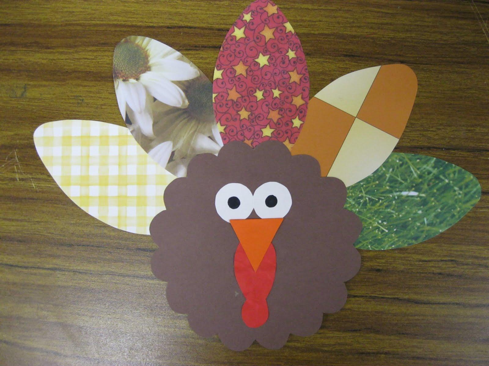 Scrapbook Paper Turkey | First Grade Fanatics #thanksgiving #craft