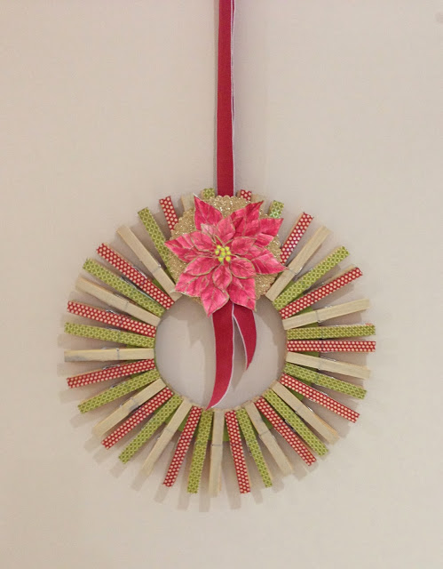 Recycled Peg Washi Tape Wreath | Oakfield Crafts #christmas #wreath