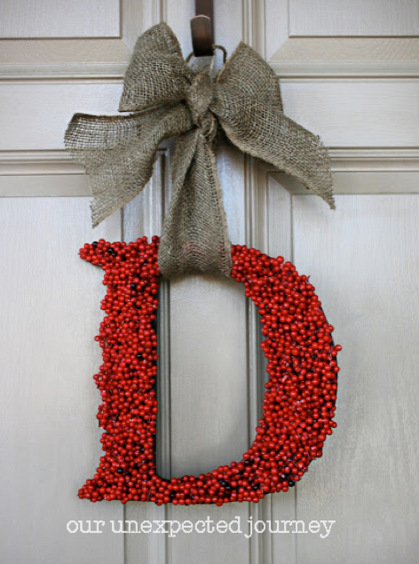 Red Berry Monogram Wreath | Our Unexpected Journey #christmas #wreath