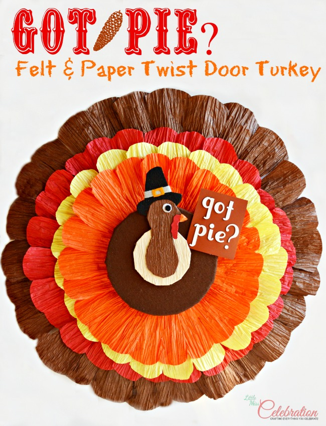 Felt and Paper Twist Door Turkey | Little Miss Celebration #thanksgiving #craft