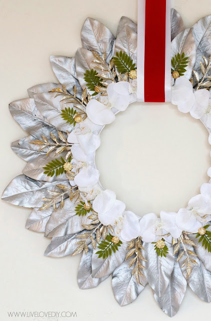 Silver Leaf Christmas Wreath | Live Love DIY #christmas #wreath