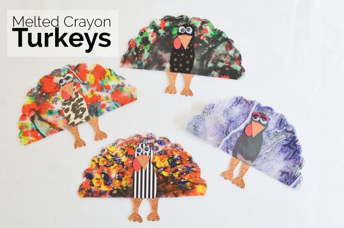 Melted Crayon Turkey Craft | Savvy Sassy Moms #thanksgiving #craft
