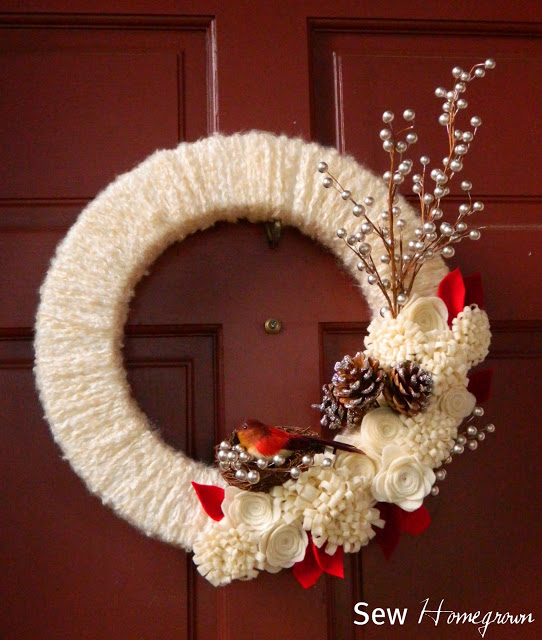 Woodland Winter Yarn Wreath | Sew Homegrown #christmas #wreath
