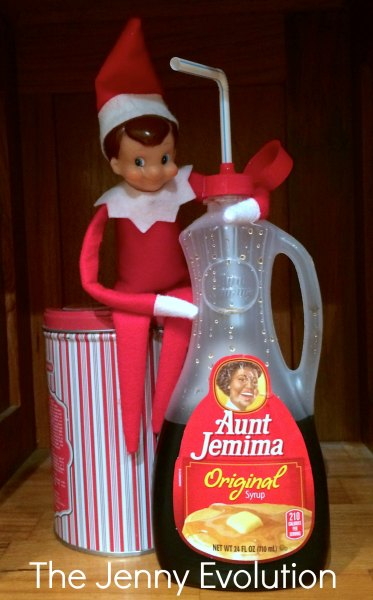Elf on the Shelf Drinking Syrup in the Morning. #elfontheshelf