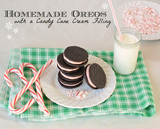 Homemade Oreos with a Candy Cane Cream Filling | Bless This Mess. Click for more holiday cookie ideas! #christmascookie #cookieexchange