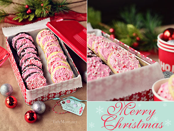Peppermint Buttercream Cake Mix Cookies | Tidy Mom. Click for more holiday cookie ideas! #christmascookie #cookieexchange