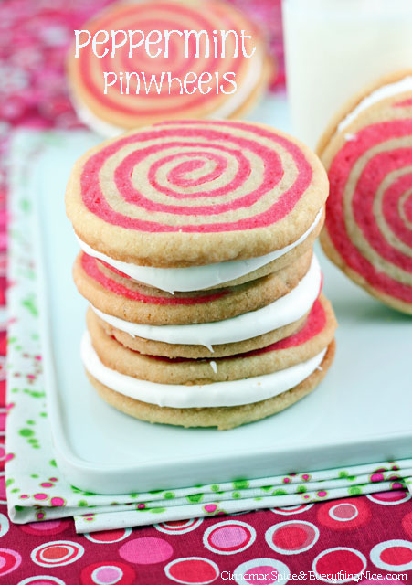 Peppermint Pinwheels | Cinnamon Spice & Everything Nice. Click for more holiday cookie ideas! #christmascookie #cookieexchange