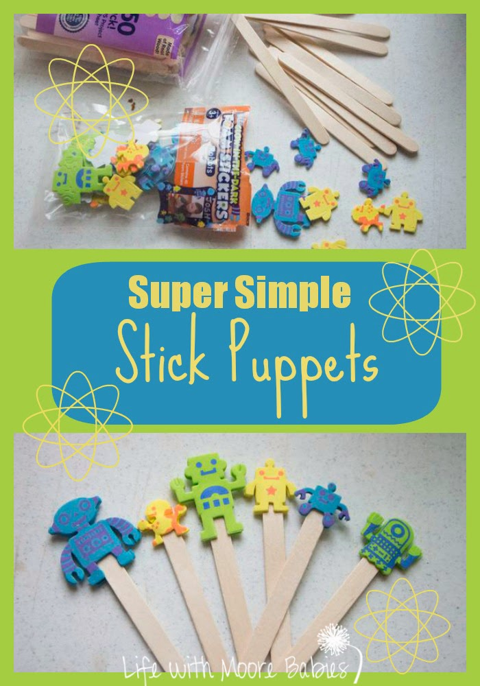 Super Simple Stick Puppets -- such a great idea from Life with Moore Babies