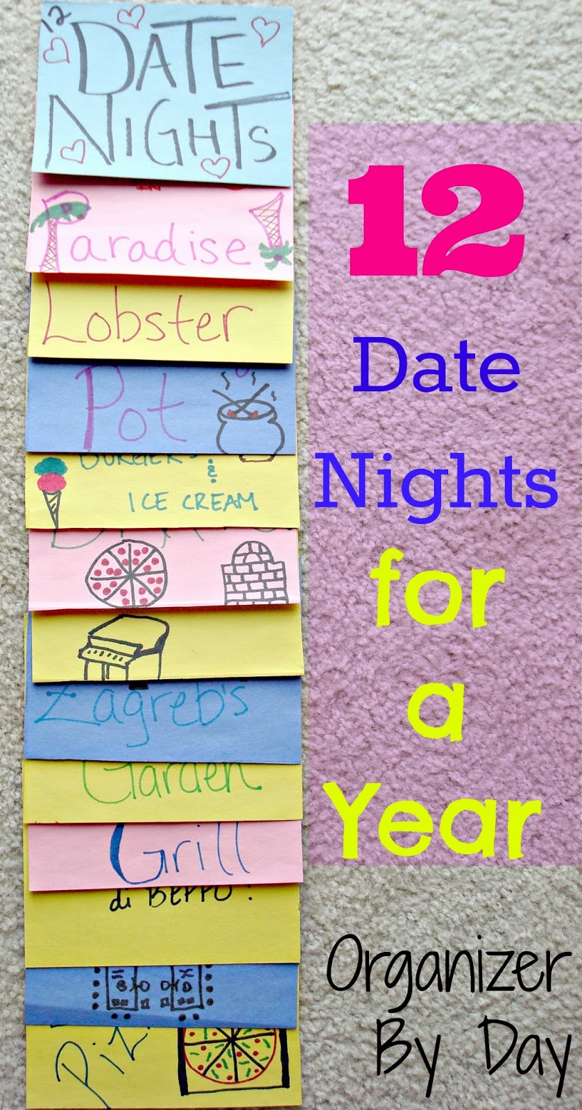 No more guessing what you're going to do for date night! Great idea from Organizer By Day
