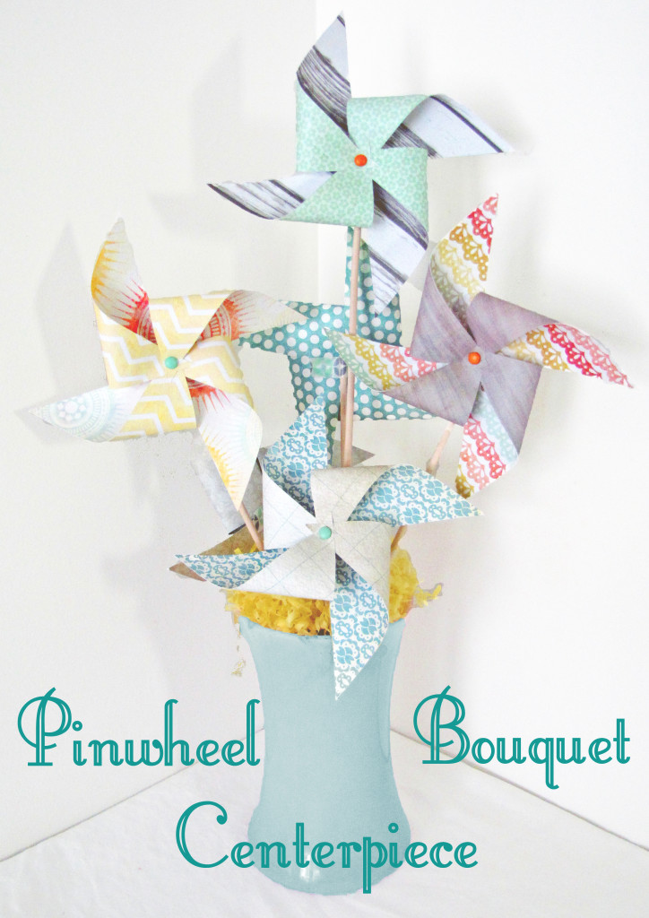 This Pinwheel Bouquet Centerpiece reminds me of Spring. Bring it on! DIY Tutorial by Craving Some Creativity