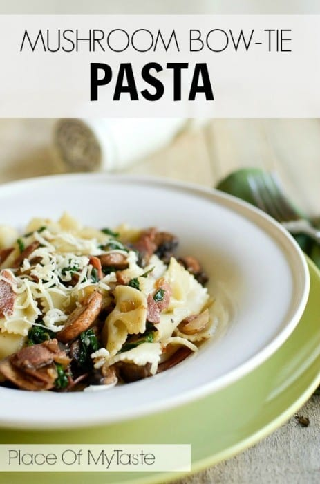 Mushroom Bow-Tie Pasta Recipe from All She Cooks