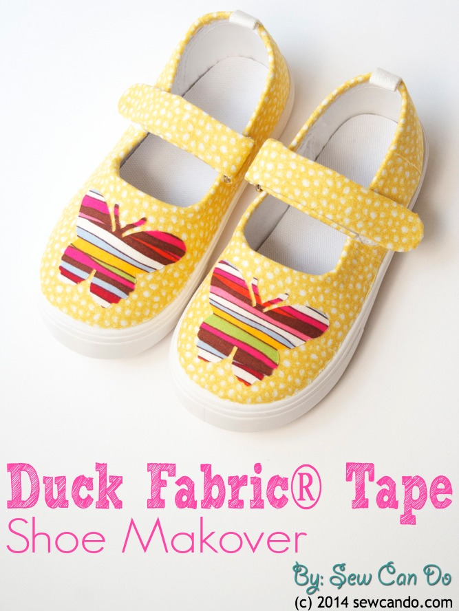 A pair of shoes any little girl would die for! DIY Duck Fabric Tape Shoe Makeover Tutorial