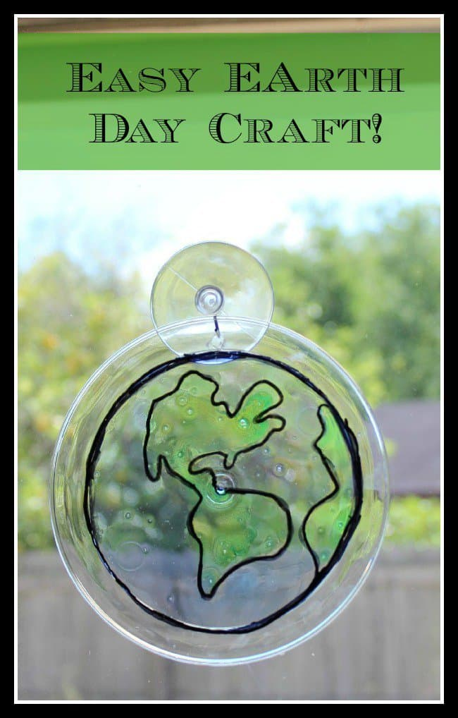 Super Easy Earth Day Suncatcher Kid's Craft from Scruggbug Corner
