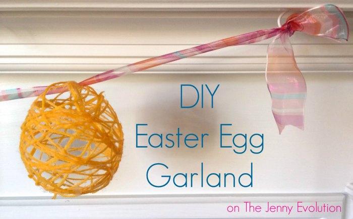DIY Easter Garland made from yarn, glue, and ribbon