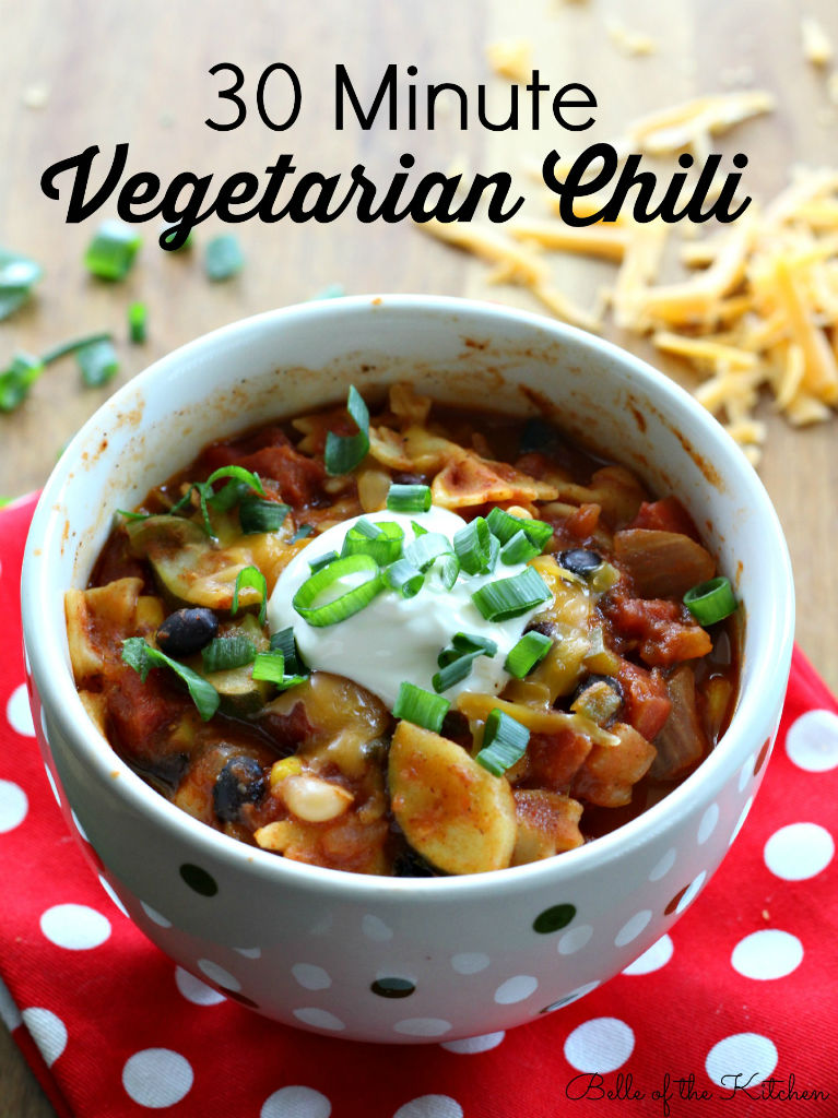 30 Minute Vegetarian Chili Recipe from Belle of the Kitchen