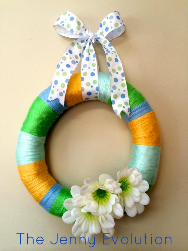 DIY Frugal Easy Yarn Spring Wreath Tutorial by Mommy Evolution