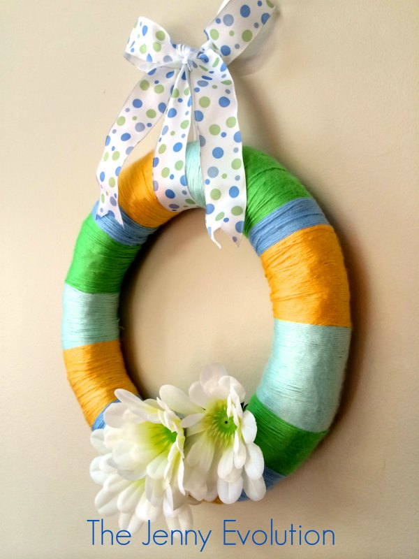 Easy Yarn Spring Wreath Tutorial Perfect for Easter, too! #diy