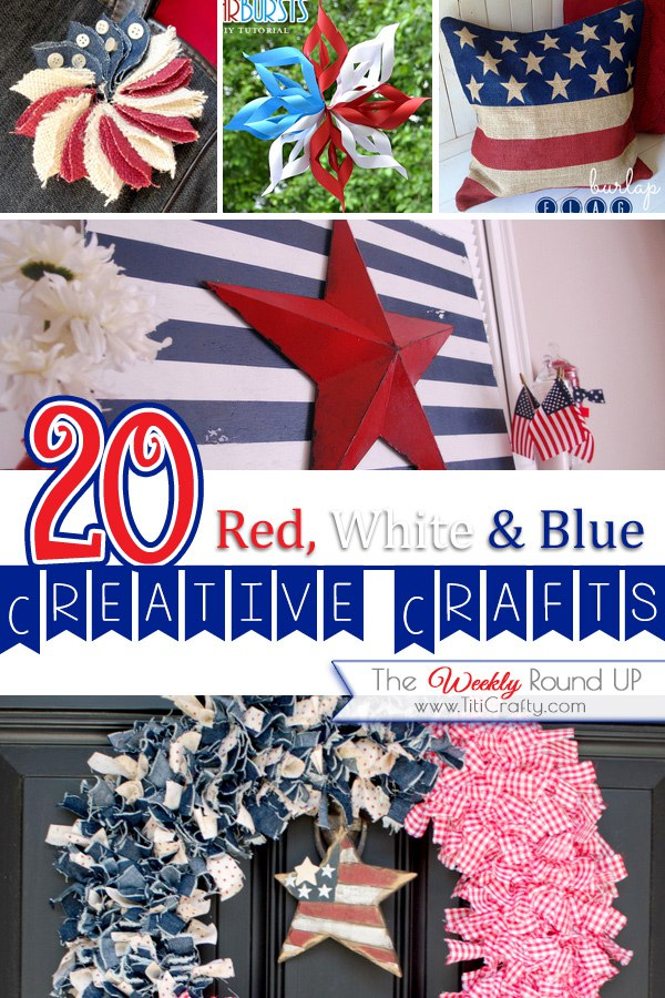 20 Red, White & Blue Patriotic Crafts. Round up from Titi Crafty