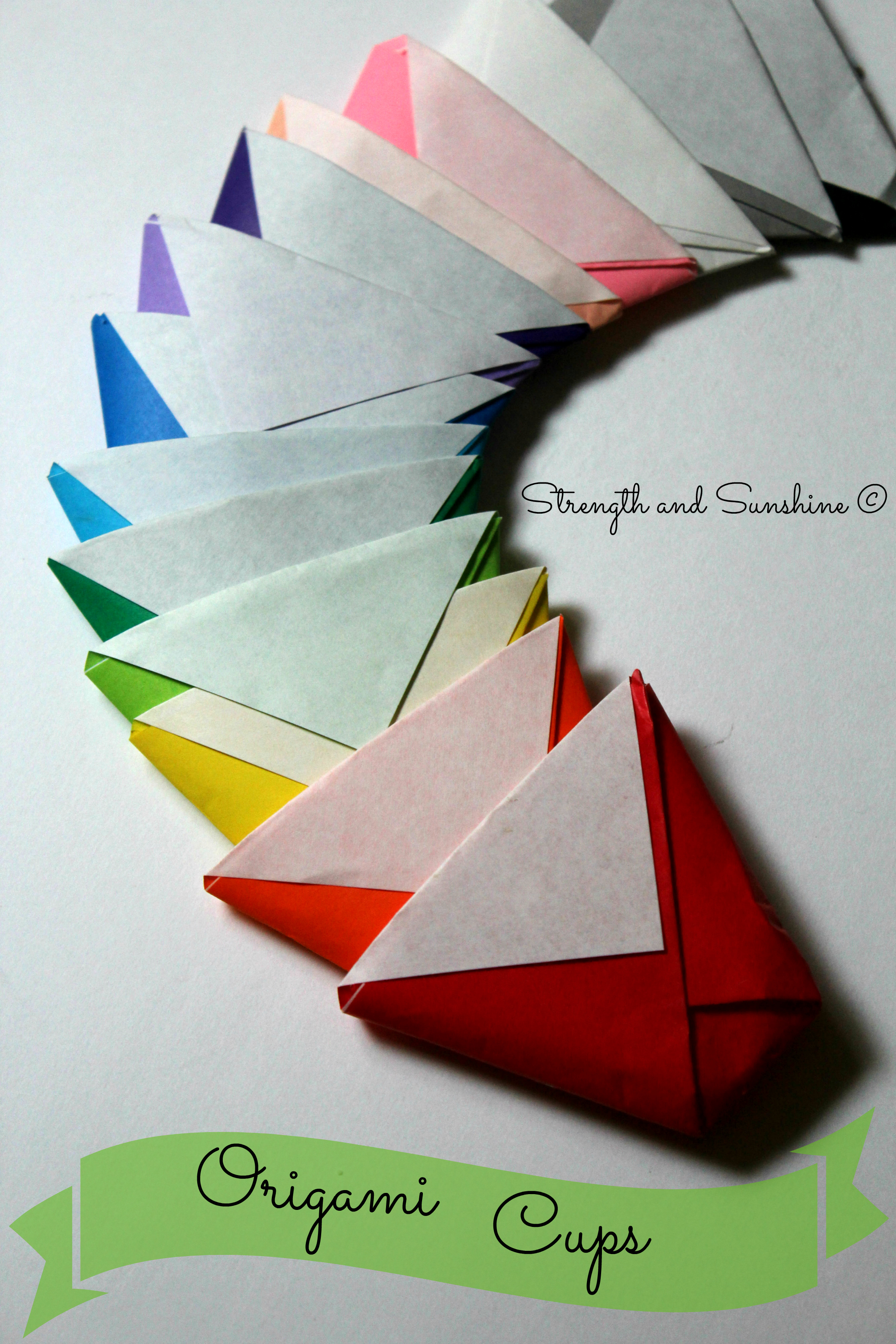 Adorable, cute and fun to make with the kids. Origami Cups DIY Tutorial by Strength and Sunshine