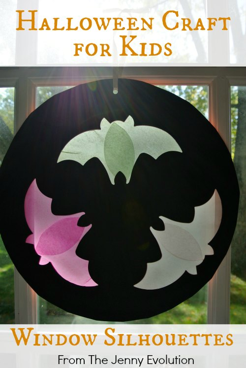 Flying Bat Window Silhouettes - Halloween Craft for Kids | The Jenny Evolution