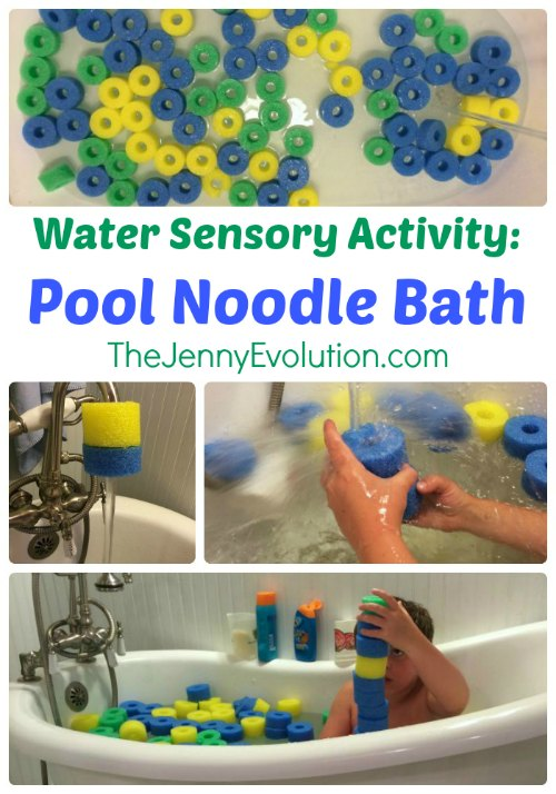 Pool Noodle Bath: Water Sensory Activity + Learning Colors and Patterns | Mommy Evolution