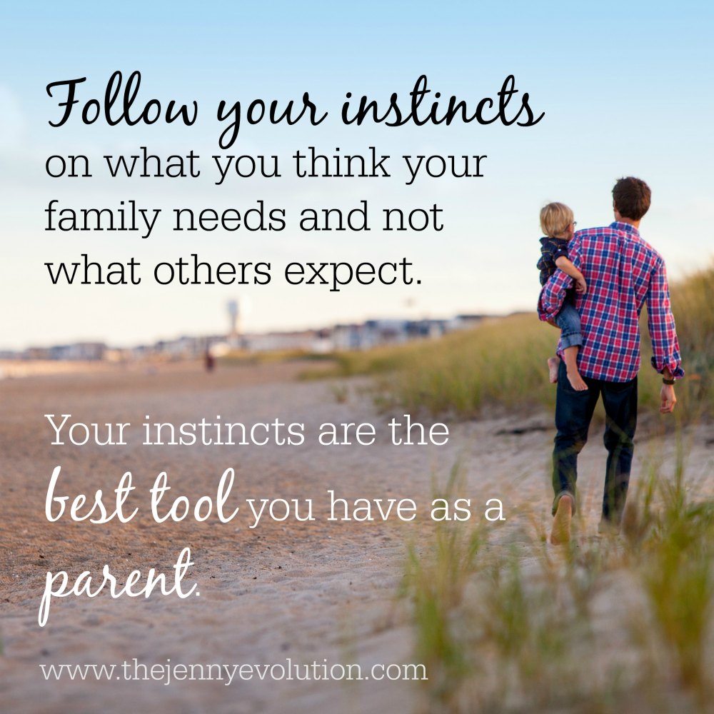 Follow your instincts on what you think your family needs and not what others expect. They are the best tool you have as a parent!