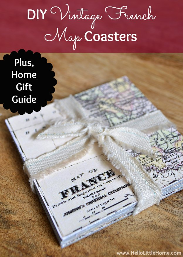 DIY Vintage French Map Coasters | Hello Little Home