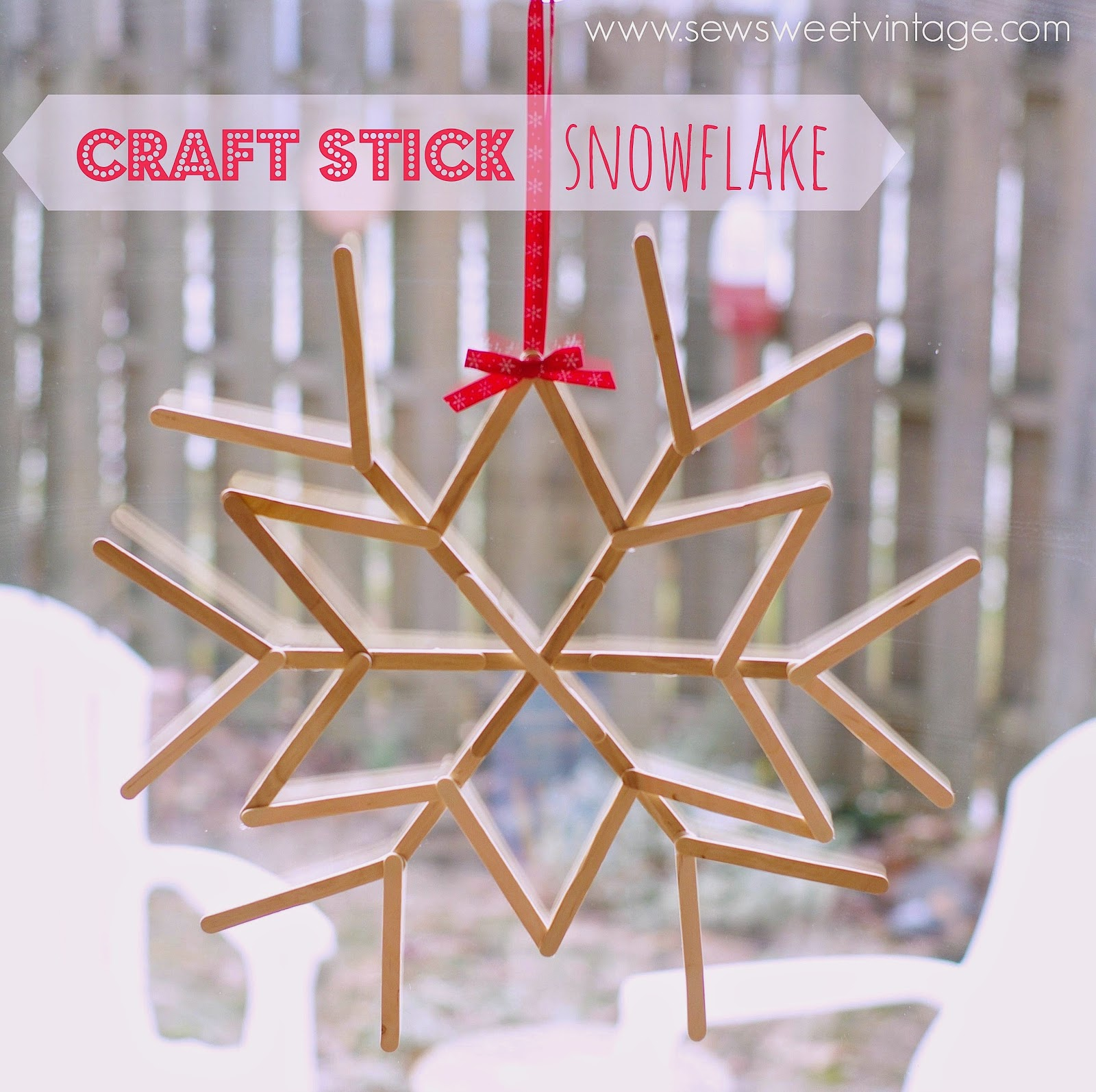 Craft Stick Snowflake Tutorial by Sew Sweet Vintage