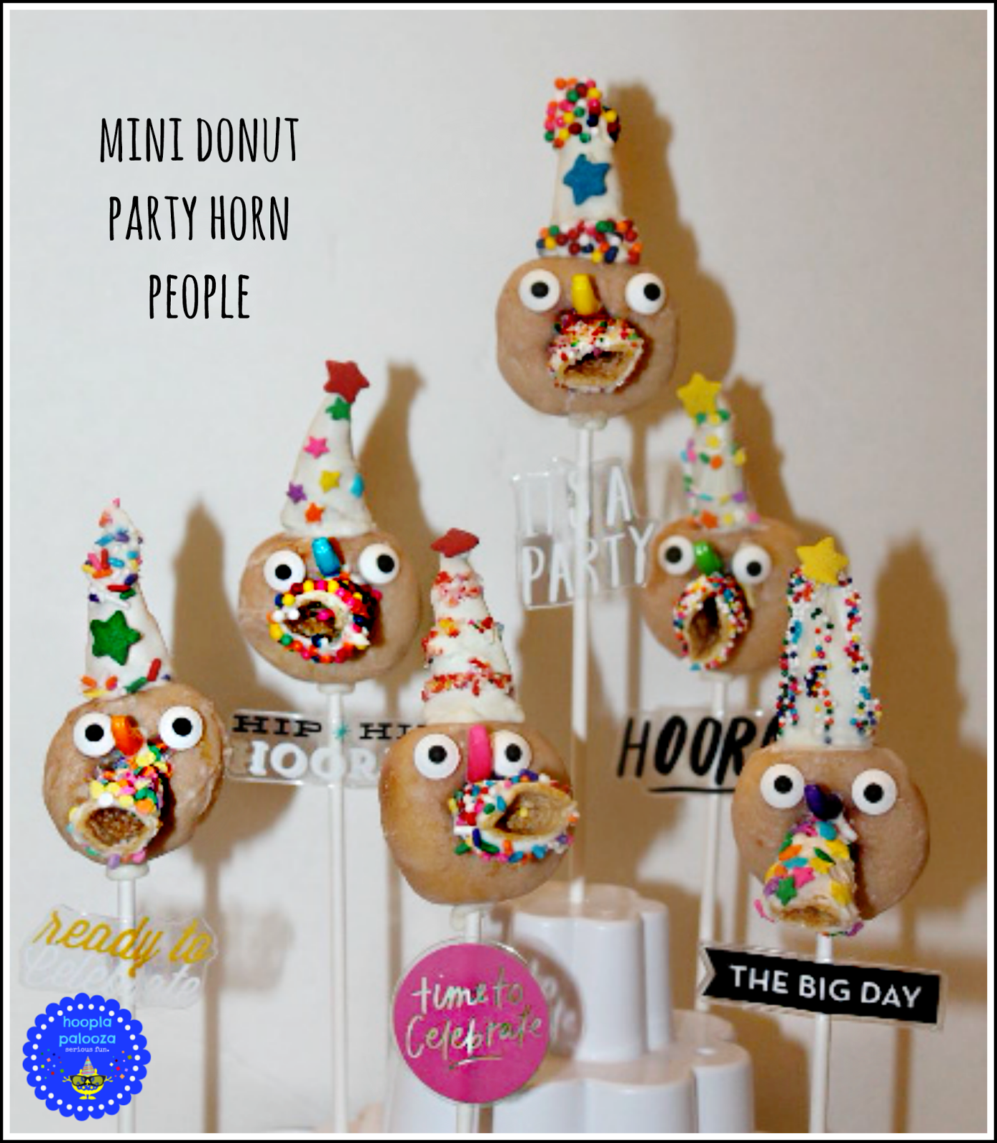 These are hysterical and fun! Mini Donut Party Horn People from Hoopla Palooza