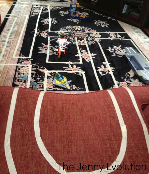 Fast, Easy Indoor Race Car Track for Kids with Painters Tape or Masking Tape | Mommy Evolution