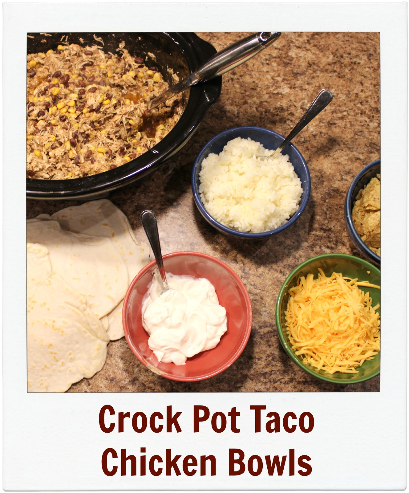 Crock Pot Taco Chicken Bowls. Recipe by Jenn's Random Scraps