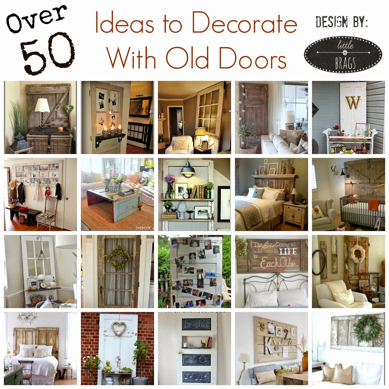 50+ Ideas to Decorate with Old Doors. Compiled by Little Brags