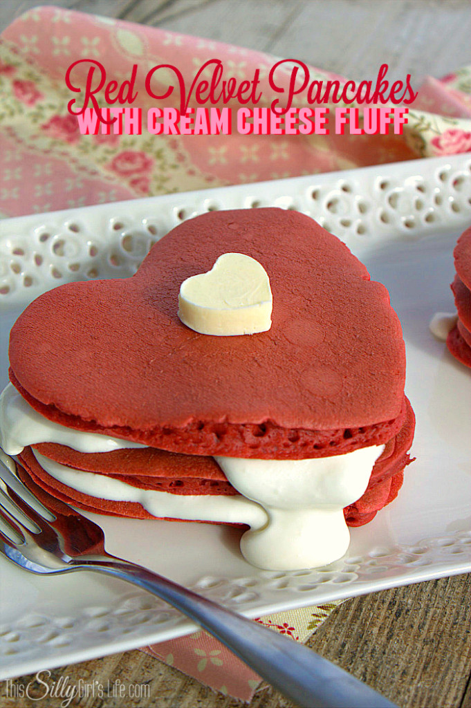 Red Velvet Pancakes with Cream Cheese Fluff. Recipe