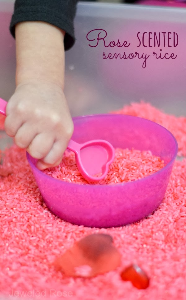 Rose Scented Sensory Rice. Click for more #sensory bin ideas for #ValentinesDay
