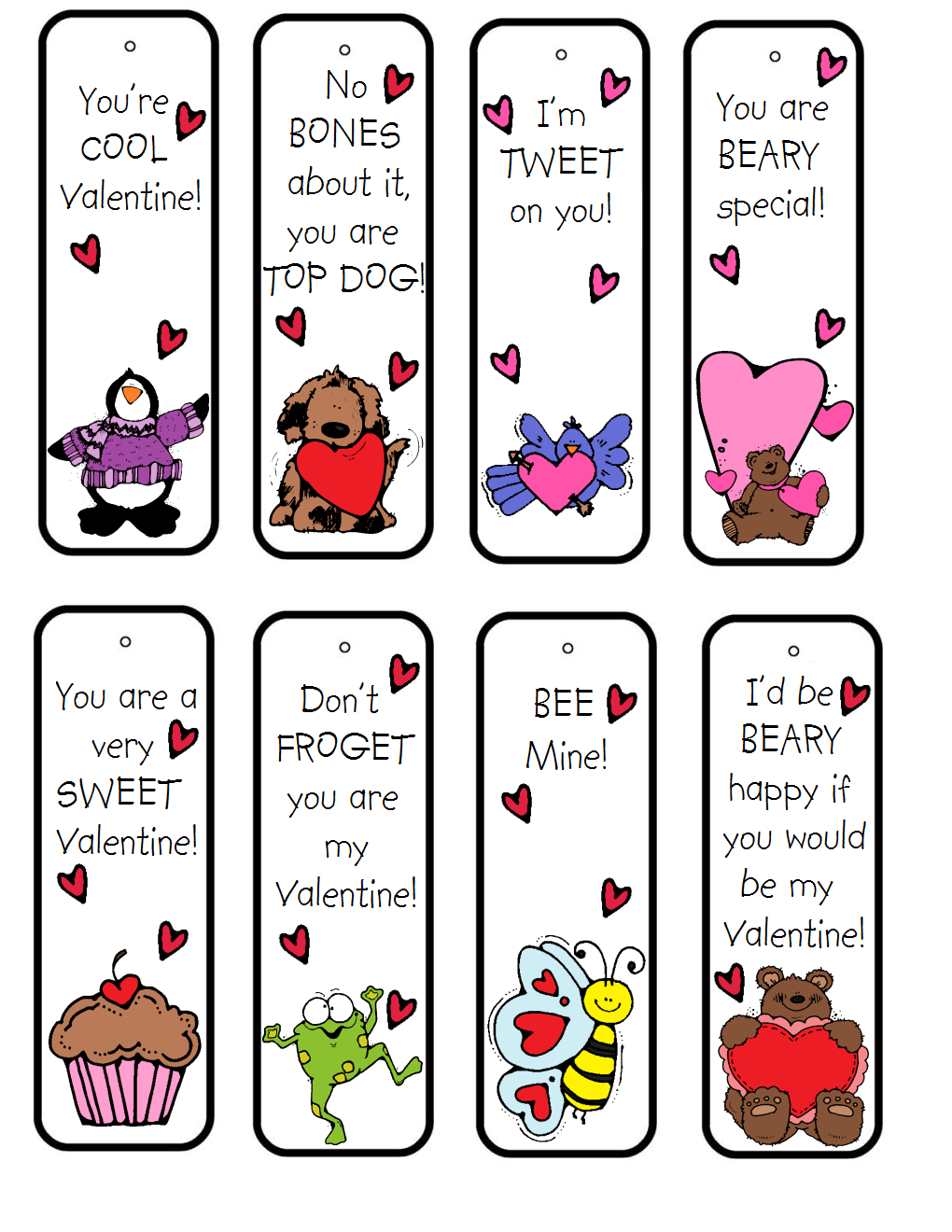 15 free valentine's day bookmark printables