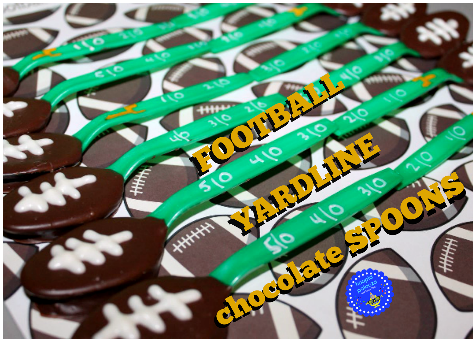 Football Yardline Chocolate Spoons from Hoopla Palooza