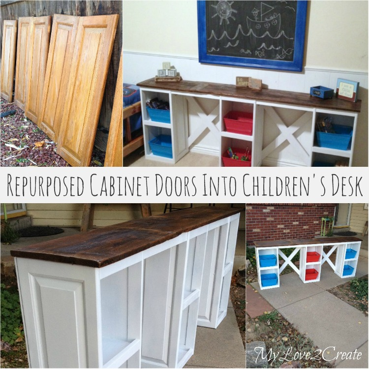 Wow! See this transformation from cabinet doors into a children's desk. DIY Tutorial from My Love 2 Create
