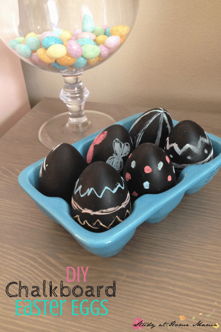 DIY Chalkboard Easter Eggs. Tutorial by Study at Home Mama