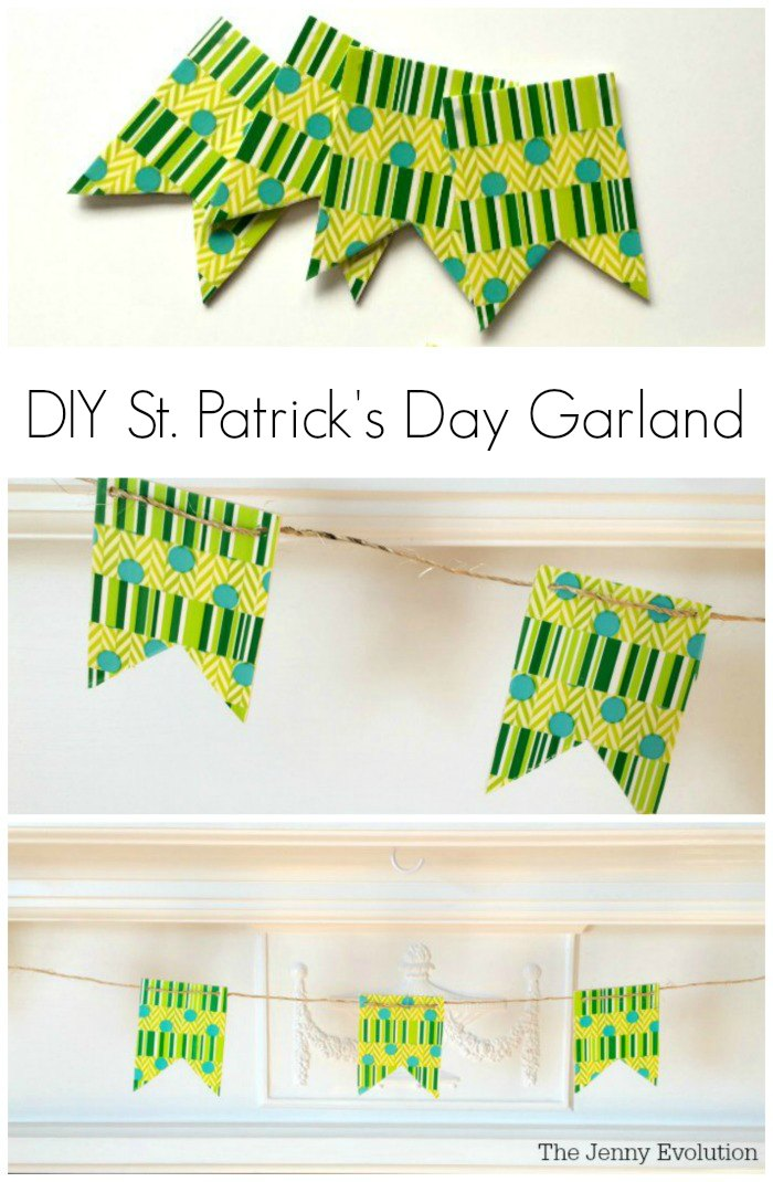 DIY St. Patrick's day garland made with unfinished wood banners, twin, and green striped and polka dotted crafting tape.