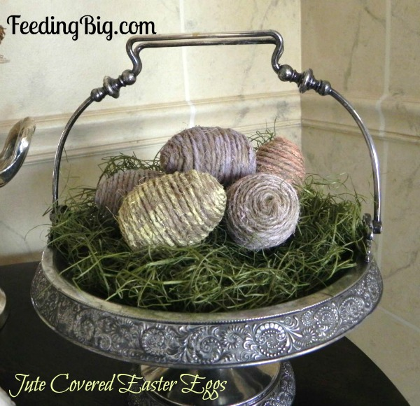 Jute Covered Easter Eggs   Feeding Big