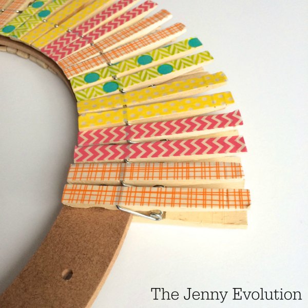 DIY Spring Easter Clothespin Wreath Tutorial | The Jenny Evolution