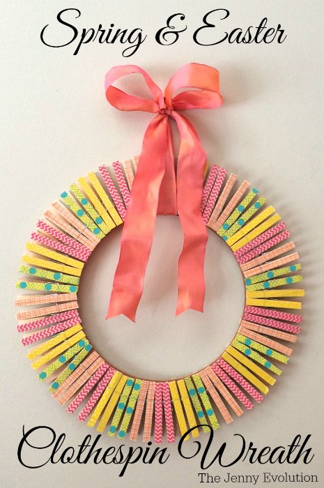 DIY Spring Easter Clothespin Wreath Tutorial | Mommy Evolution