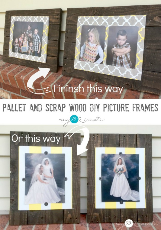 DIY Pallet and Scrap Wood Picture Frames. Tutorial from My Love 2 Create