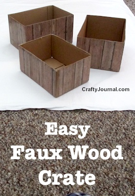 Easy Faux Wood Crate. DIY Tutorial from Crafty Journal
