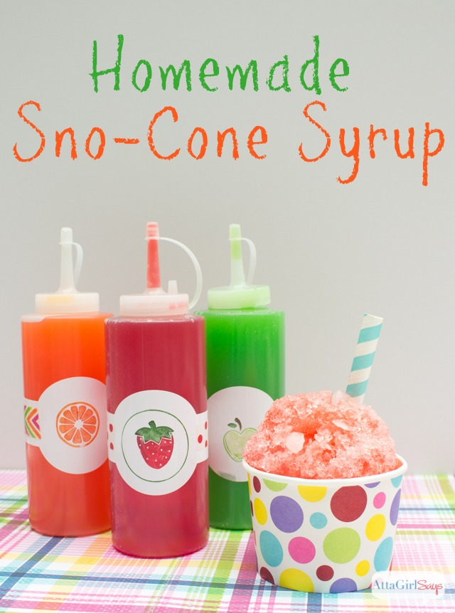 Homemade Sno-Cone Syrup. Recipes from AttaGirl Says