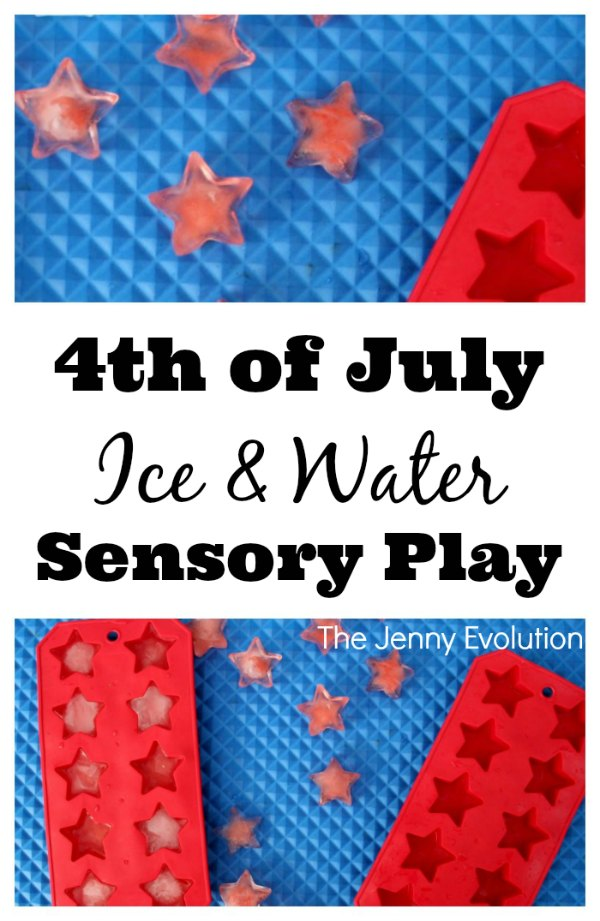 4th of July Ice and Water Sensory Play