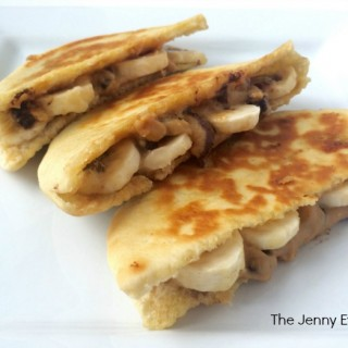 Trifecta Snack! Chocolate Peanut Butter Banana Pita Panini Recipe